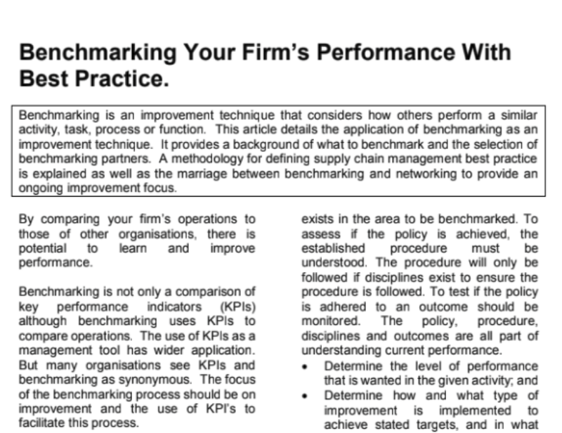Benchmarking Your Firms Performance With Best Practice